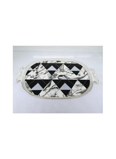 Sembol Siyah Piramit Desen Porselen Büyük Sunum Tepsisi Renkli